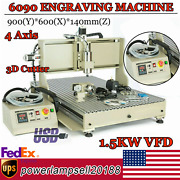 4 Axis Cnc 6090t Engraver Metal Steel Mill/carving Machine 1500w Vfd Usb Router