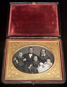 1/4 Plate Daguerreotype - A Stunning Family Of Five - In Boston Push Button Case
