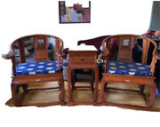 Chinese Rosewood Arm Chairs With Side Table Set