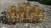 Culver Valencia 22k Gold And Green Set 6 Whiskey Glasses And Ice Bucket With Caddy