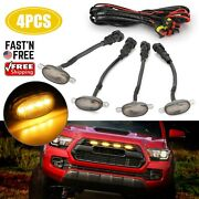 4x Raptor Style Amber Led Front Grille Running Lights Smoked Lens For Ford F150