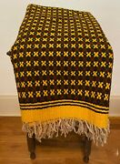 Large Vintage Mexican Hand Woven Wool Throw Horse Picnic Blanket - 55.5 X 84