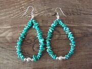Navajo Indian Sterling Silver And Turquoise Nugget Dangle Earrings By Doreen ...