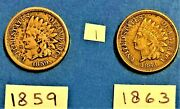 Indian Head Cents / Penny 1859, And 1863 Coins Show Liberty On The Band 1