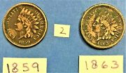 Indian Head Cents / Penny 1859, And 1863 Coins Show Liberty On The Band 2