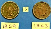 Indian Head Cents / Penny 1859, And 1863 Coins Show Liberty On The Band 3