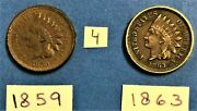 Indian Head Cents / Penny 1859, And 1863 Coins Show Liberty On The Band 4