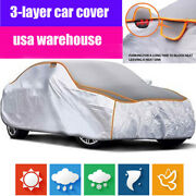 3-layers Padded Full Car Cover Outdoor All Weather Protection Sedans Anti-blow