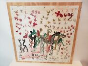Purvis Young - Paint On Plastic Sign - Original Painting Horses And Riders