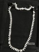 Vintage Suzanne Somers Wreath Necklace Clear Brilliant Pear Cut Czs 925 Silver