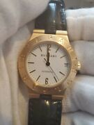 Bvlgari 18k Yellow Gold Menand039s Date Automatic Black Leather Band Watch Lc 29 G