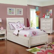 Wooden Full Size Bed With Sleigh Design Plank Panel Headboard White