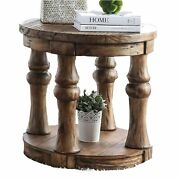 Transitional Round End Table With Open Shelf And Turned Legsantique Oak