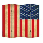 4 Panel Canvas Screen With American Flag Print Multicolor