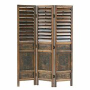 3 Panel Shutter Design Screen With Intricate Wooden Carvings, Walnut Brown
