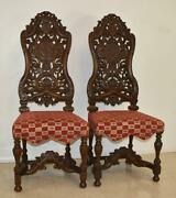Pair Vintage Edwardian Style High Back Carved Side Chairs