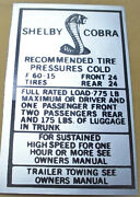 Mustang Shelby Cobra Tire Pressure F 60-15 24 137 2.95 W/shipping