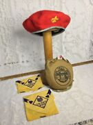 Vtg Official Trail Mess Kit, Boy Scout 100 Wool Hat And 2 Cub Scout Wolf Scarfs