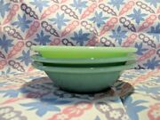 Fire King Jadeite Restaurant Ware Flanged Cereal Bowls X3 In Excellent Condition