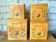 Wooden Kitchen Canisters, Rooster Canister, Flour, Sugar, Coffee, Tea, Stackable