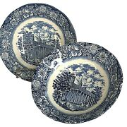 2 Staffordshire Liberty Blue Coupe Cereal Bowls 6 1/4 Mount Vernon England