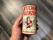 Antique Kitchen Klenzer Coin Tin Can Bank - Cool Graphics