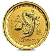 2001 1/10 Oz Gold Australian Lunar Year Of The Snake Series I In Perth Mint Caps