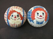 Briere Folk Art Raggedy Ann And Andy Roly Poly Ball Pair 1991 No Pull Toy / Cart