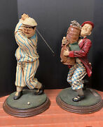 Laurel And Hardy Large Golfers Statues 1990's Fun Decor Man Cave Games Room 25h