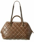 Beige Quilted Caviar Leather Large Tote Authentic Pre-owned Womenand039s