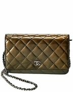 Olive Green Quilted Patent Leather Wallet On Chain Womenand039s