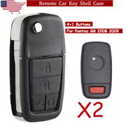 2 For 2008 2009 Pontiac G8 5 Buttons Replacement Remote Smart Key Case Shell Fob