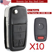 10 For 2008 2009 Pontiac G8 5 Button Replacement Remote Smart Key Case Shell Fob