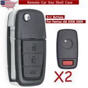 2 For 2008 2009 Pontiac G8 4 Buttons Replacement Remote Smart Key Case Shell Fob