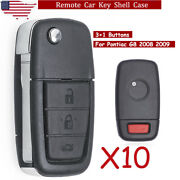 10 For 2008 2009 Pontiac G8 4 Button Replacement Remote Smart Key Case Shell Fob