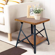 Solid Wood Chair Sofa Side Table Narrow End Table Open Shelves For Living Room