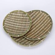 100 Handmade Woven Bamboo Flat Tray For Fruit Basket Food Round, Small/8