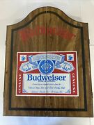 Beautiful Budweiser Beer Wooden Case/ Darts Made In Usa Wood Board Oxford New