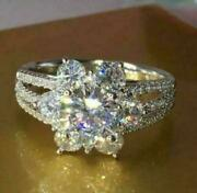 4ct Coupe Ronde Moissanite Fleur Halo Fianandccedilailles Bague Solide 14k Or Blanc Fini