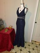 My Michelle Navy Blue Embellished Evening Formal Dress Prom Bridesmaid Size 5