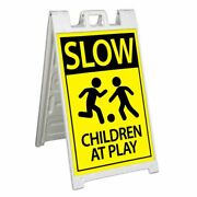 Slow Children At Play Signicade 24x36 Aframe Sidewalk Sign Banner Decal Caution