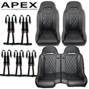 Rzr 1000 Suspension Seats Black 2014+ 4 Point Harnesses And Split Bench Seat