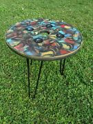Colorful Reclaimed Pallet Wood Upcycled Patio Coffee Table- Vintage, Rustic Look