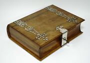 Victorian Jewelry Wooden Rosewood Box Casket Novelty Book Shape Binding And Lock