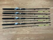 4 Pack Okuma Classic Pro 7and039 6 Ct Trolling Rod Cpc-762 Chartreuse Tip