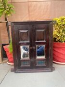 Antique Old 23 X 21andrdquo Dark Wood Carved Colorful Glass Rare House Window Door Rare