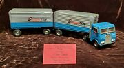 Vintage Tin Toy Transcon Semi Truck W/ 2 Trailers Friction Toy Japan