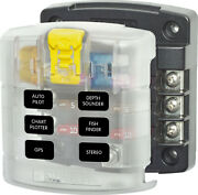 Blue Sea Systems St Blade Fuse Block - 6 Circuits With Cover 5028