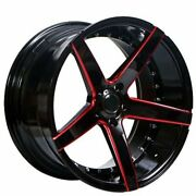20 Staggered Ac Wheels Ac02 Gloss Black Red Milled Rims And Tires W/ Tpms
