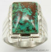 Antique Signed Ostby And Barton Kingman Mine Turquoise Sterling Silver Menand039s Ring